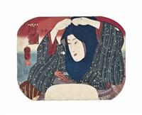 a fan print depicting a girl pulling up her head-dress in the snow (from imayo nana fujin furoku by utagawa kuniyoshi