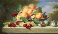 still life of fruits by ange louis guillaume lesourd-beauregard