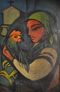 mujer con gallo by alberto castro couso