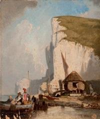 pêcheurs en bord de côte by jules achille noel