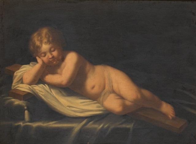 jésus enfant couché sur la croix by alessandro di cristofano allori