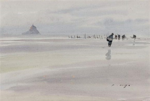 pêcheurs devant le mont saint michel by pierre brette