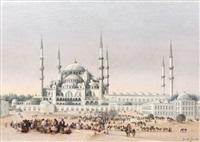 foule animée devant la mosquée ahmed, istanbul by albrecht michael jacob jacobs