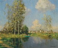 on a boat at the bend in a river near a french town by marcel adolphe bain