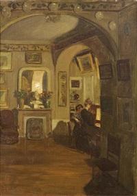 deux femmes au piano dans un salon by henry bouvet