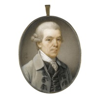 portrait of a gentleman wearing a grey coat with black frogging, a black waistcoat and a white cravat by john bogle