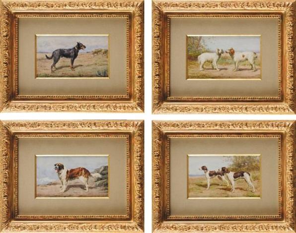 chien st bernard chien berger de beauce couple de braques dauvergne et couple dépagneuls bretons set of 4 by léon barillot