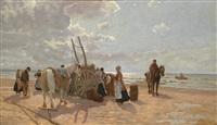 fisherman on the beach by hermann baisch