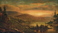 sunset over a river by homer dodge martin
