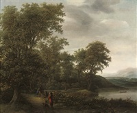 a wooded river landscape by cornelis hendriksz vroom
