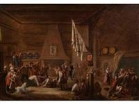 scène de rixe dans une taverne by jean-baptiste coulon