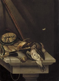 a still life of game and hunting acoutrements, on a stone ledge by jacobus biltius