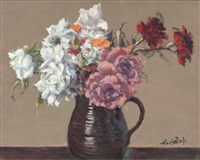 still life, flowers in jug by maurice macgonigal