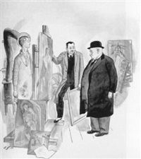 self portrait with dealer and collector by ned hilton