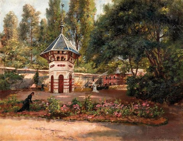 Pigeonnier Dans Un Jardin Anime 1877 By Julien Gustave