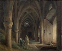 un cellier dans les ruines d'une abbaye by robert léopold leprince