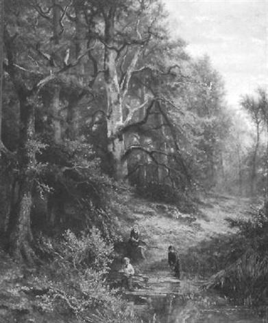 bosgezicht met kinderen bij een beek by marius heyl