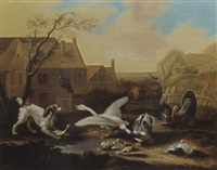 a dog chasing goslings and cygnets in a farm garden together with geese, a swan, a peackock, turkeys, pigs and pigeons by anglo-dutch school (18)