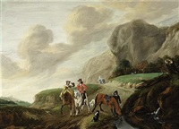 a hilly landscape with a falcon hunt together with horsemen, a view of a farmhouse beyond by claes van beresteyn