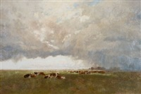 the clouds drop fatness, a western pastoral, new south wales by william charles piguenit