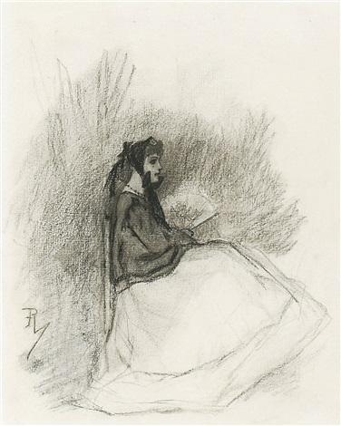 femme assise à léventail by félicien joseph victor rops