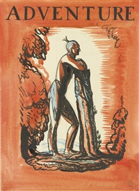 indian, study for a cover illustration in adventure magazine by rockwell kent