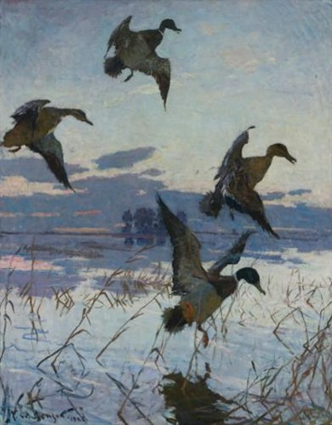 after sunset (long point sunset) by frank weston benson