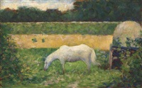 paysage avec cheval by georges seurat