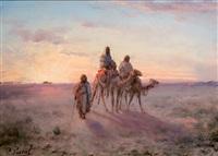chameliers dans le désert (+ bords du nil; pair) by paul pascal