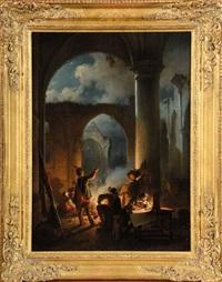 bivouac des troupes dans une église en ruines by jean (jan) michael ruyten