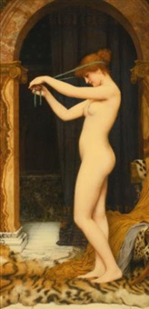 venus binding her hair by john william godward