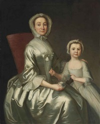 portrait of a woman and child, three-quarter length by joseph highmore