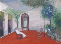 figura sentada en el patio by héctor basaldúa