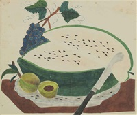 a theorem picture, a watermelon with grapes and peaches by american school (19)