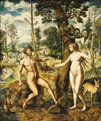 the temptation, with the rebuque and the expulsion from the garden of eden beyond by jan swart van groningen
