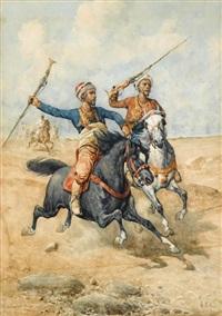 arab horsemen by giuseppe gabani