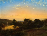 landscape with a castle by the water at sunset by james de rijk