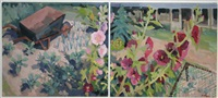 august garden with hollyhocks (diptych) by brien vahey
