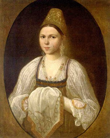 portrait of a young woman in traditional russian costume by ivan petrovich argunov