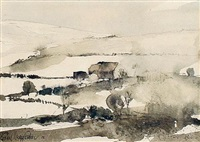 snowfields with huts by john knapp fisher
