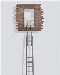 window and ladder - too late for help by leandro erlich