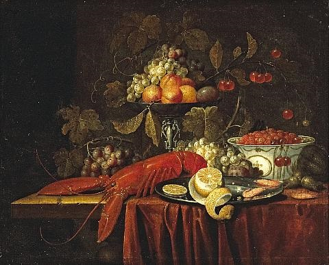 a still life with fruit strawberries in a oriental bowl and a lobster together on a partially draped table by jan pauwel gillemans the elder
