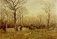 chasseur, près des coupes de bois by george gassies