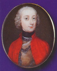 a gentleman, wearing black stock, red coat and lace trimmed brown doublet by andrew benjamin lens
