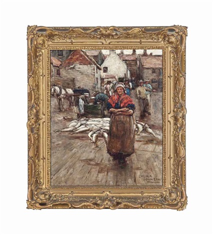 packing fish on the quay at staithes by dame laura knight