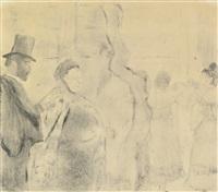 ludovic halévy meeting mme. cardinal backstage (janis 196; adhémar 56) by edgar degas