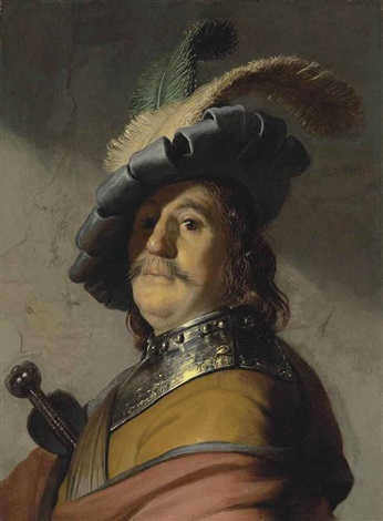 a man in a gorget and cap by rembrandt van rijn