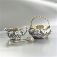 a sugar bowl, creamer and spoon (set of 3) by maria semyonova