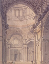 internal view of st. paul's cathedral from the north entrance by thomas malton the younger