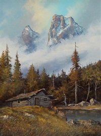 cabin with mountain peaks in the mist by milton achtimichuk